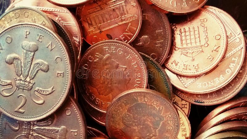 Assorted copper coins. Assorted selection of British coins stock images