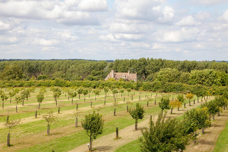 English country manor house orchard landscape. stock image