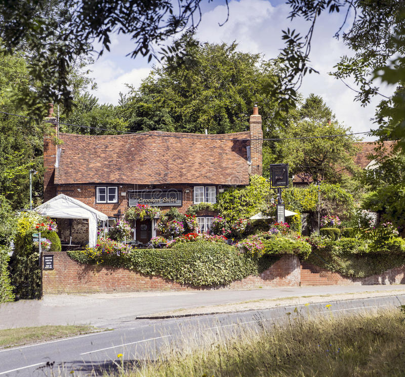 English Country Pub. The Crooked Billet a popular and traditional 16th century English country pub located in Buckinghamshire stock photography