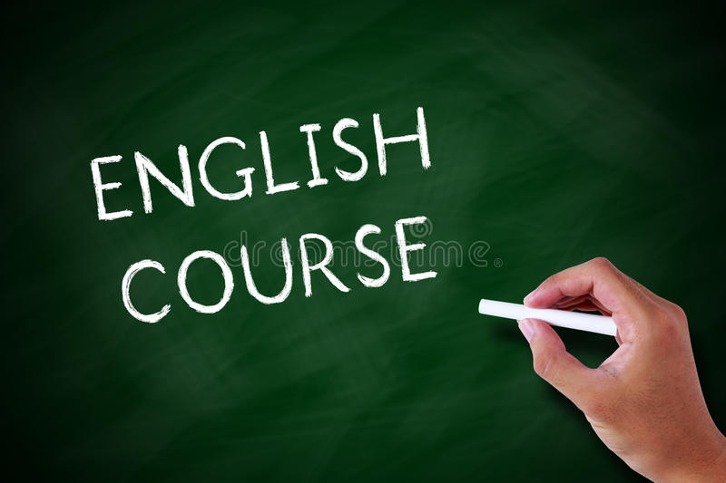 English Course. Handwritten chalk concept English Course on the blackboard stock image