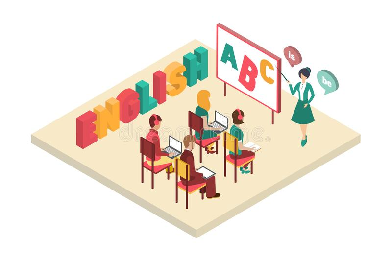 English courses with teacher near blackboard, classroom interior vector illustration. On a white background stock illustration