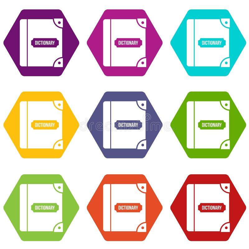 English dictionary icon set color hexahedron stock illustration