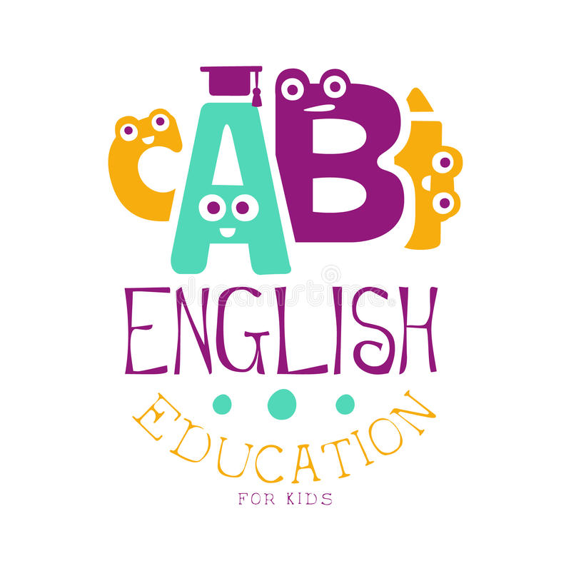 English education for kids logo symbol. Colorful hand drawn label royalty free illustration