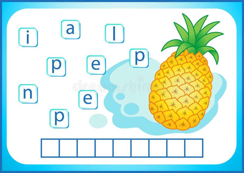 School education. English flashcard for learning English. We write the names of vegetables and fruits. Words is a puzzle game for royalty free illustration