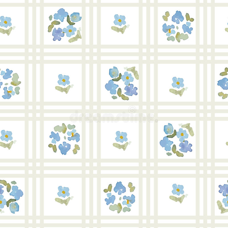English floral pattern with cross stripes. Vector floral vintage wallpaper royalty free illustration