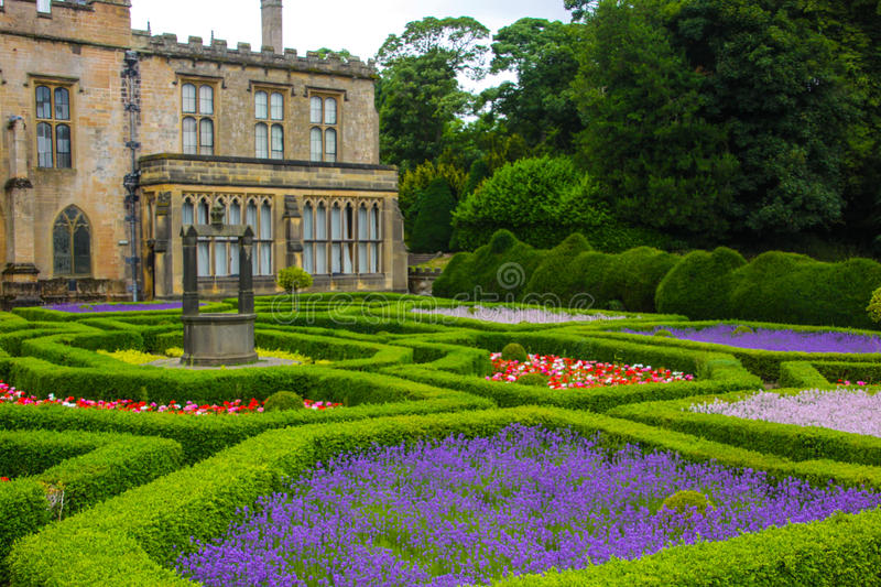English garden and a house stock photography