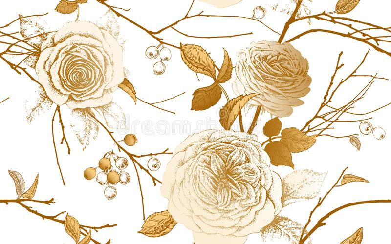 A seamless pattern with English garden roses, tree branches and vector illustration