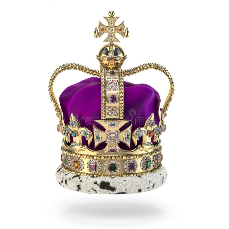Free English Golden Crown With Jewels Isolated On White. Royal Symbol Of UK Monarchy Royalty Free Stock Image - 140749676