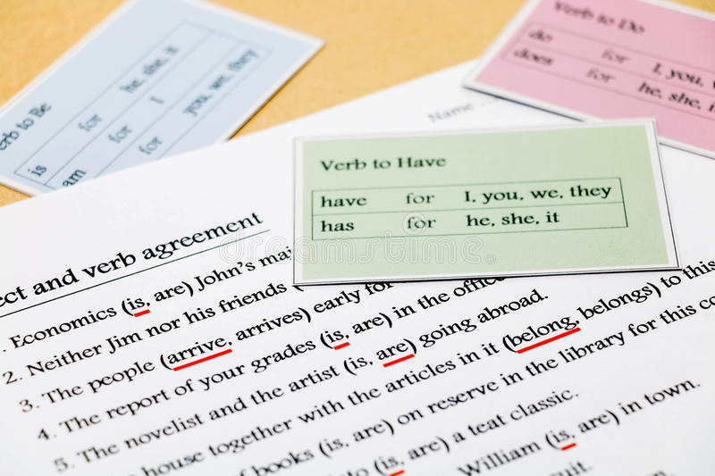 English grammar exercise on table stock image image of for Underline the table