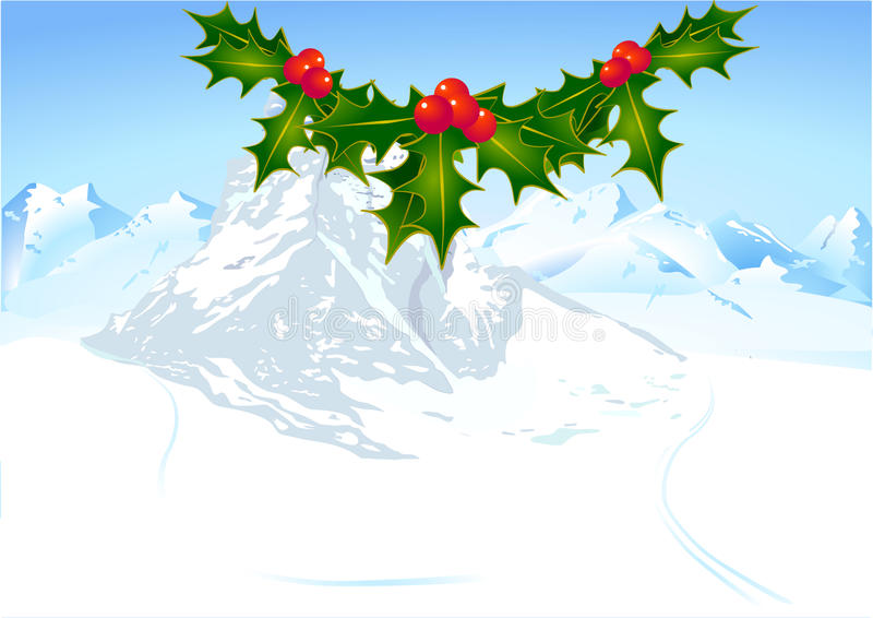 Download English holly and mountain stock vector. Illustration of december - 17411733