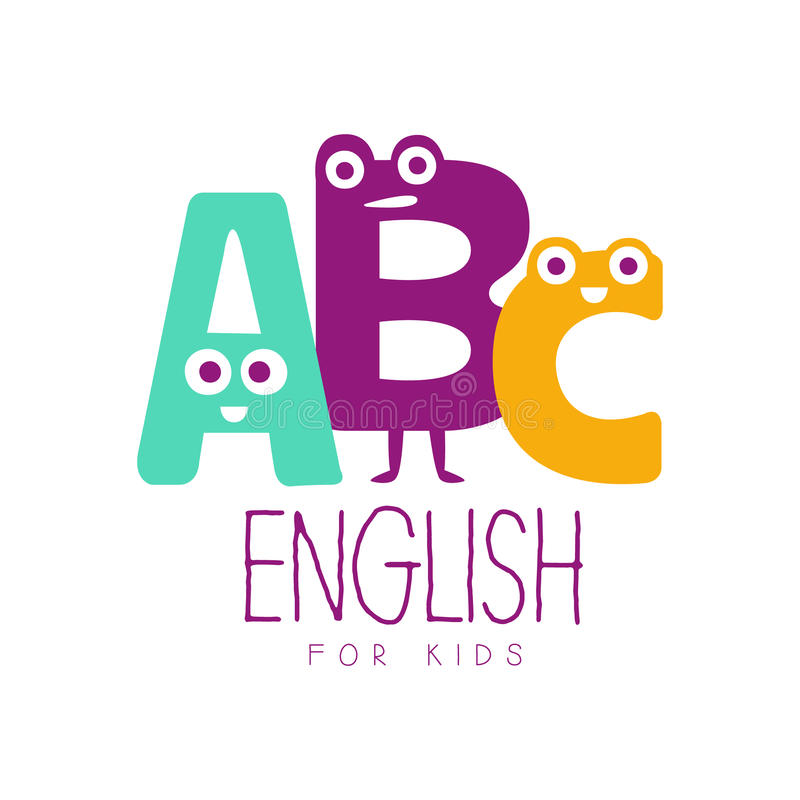 English for kids logo symbol. Colorful hand drawn label stock illustration