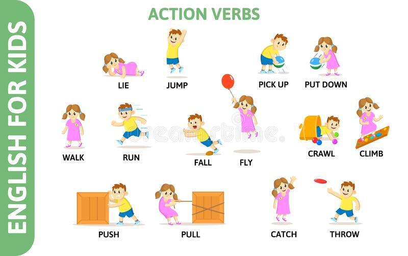 English For Kids Playcard. Action Verbs With Playing ...