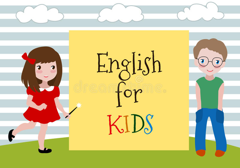 English for Kids. Vector Illustration of the two kids learning english. Language School for children. stock illustration