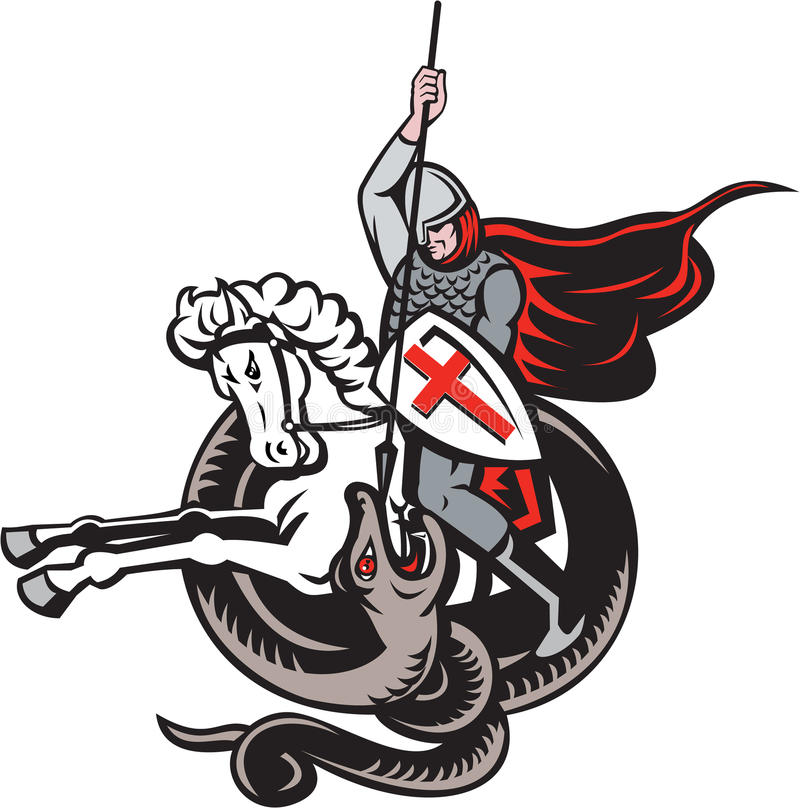 Download English Knight Fighting Dragon England Flag Shield Retro Stock Vector - Illustration of helmet, english: 37871823