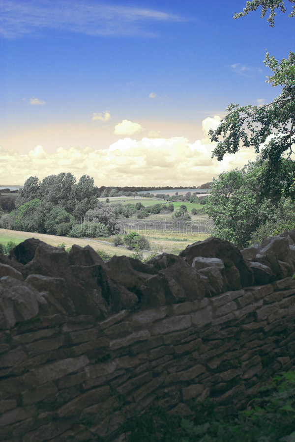 English landscape. Typical english landscape with medieval drystone wall in Oxfordshire royalty free stock image