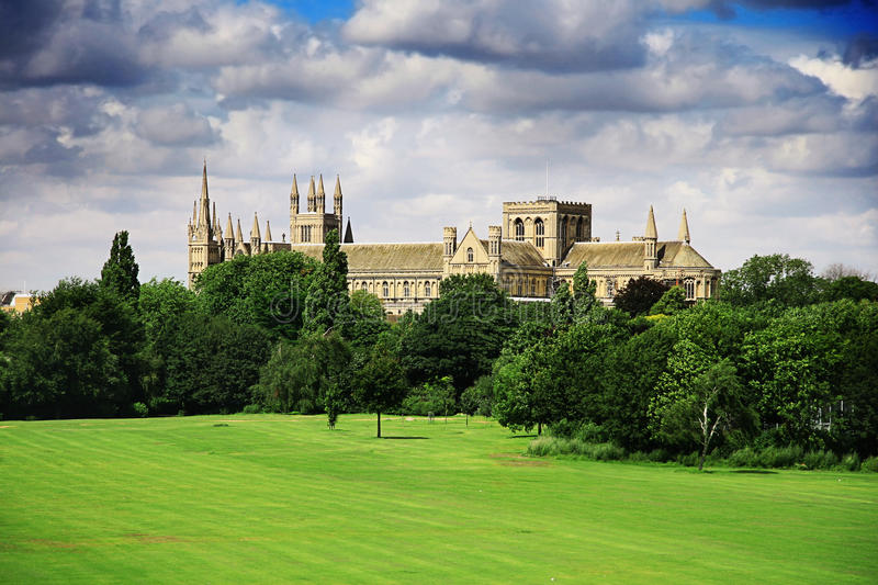 English landscape with catherdral and park. English landscape with Peterborough catherdral and park royalty free stock photo