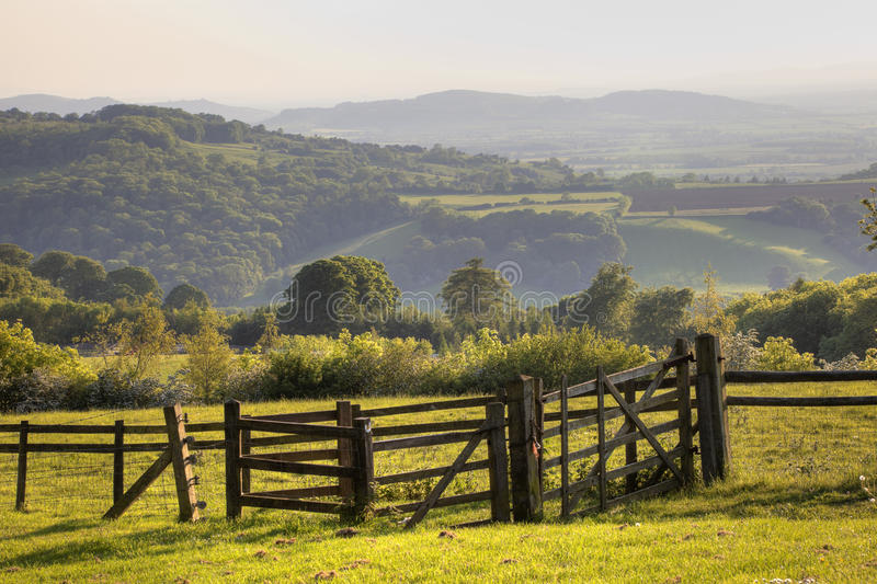 English landscape with gate at sunset. Worcestershire, England stock photo