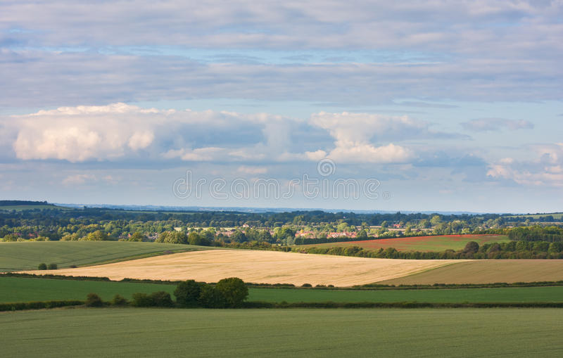 English landscape view of the Chilterns in summer. An idyllic view over an English landscape in summer. Photo taken in the Chilterns, Oxfordshire stock photos