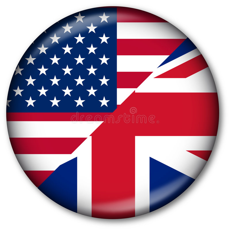 English Language Button. Web Button with the USA and UK flags (representing the 2 mostly used versions of the English language