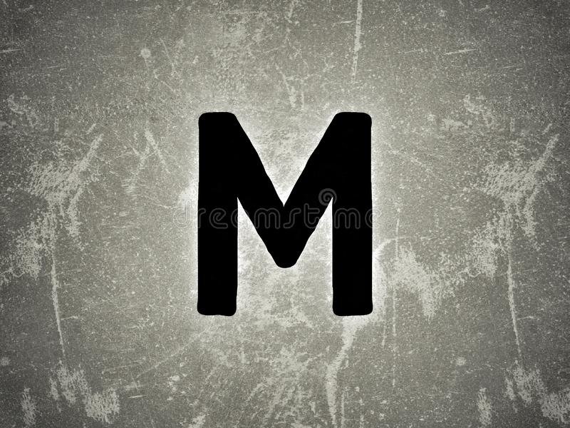 The english language latter M in the rough wall text royalty free stock photography