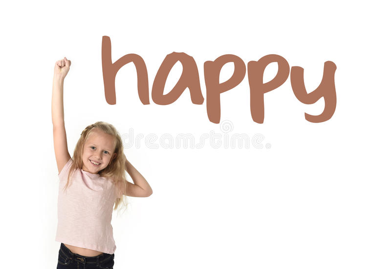 English language learning vocabulary school card of young beautiful happy female child excited stock image