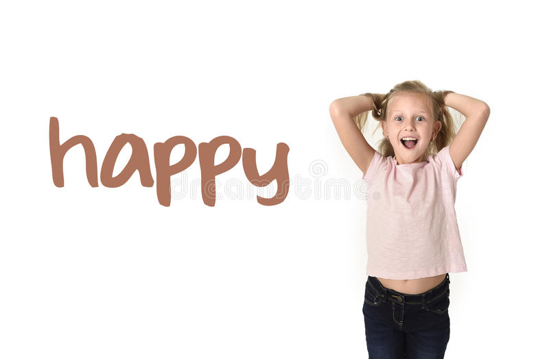 English language learning vocabulary school card of young beautiful happy female child excited stock images