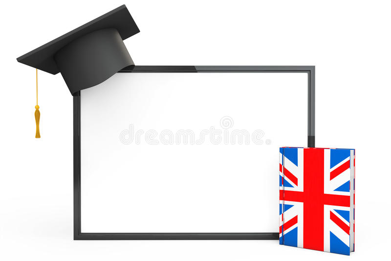 English Learning Concept. Graduation Cap, Chalkboard and English. Grammar Book on a white background stock photo