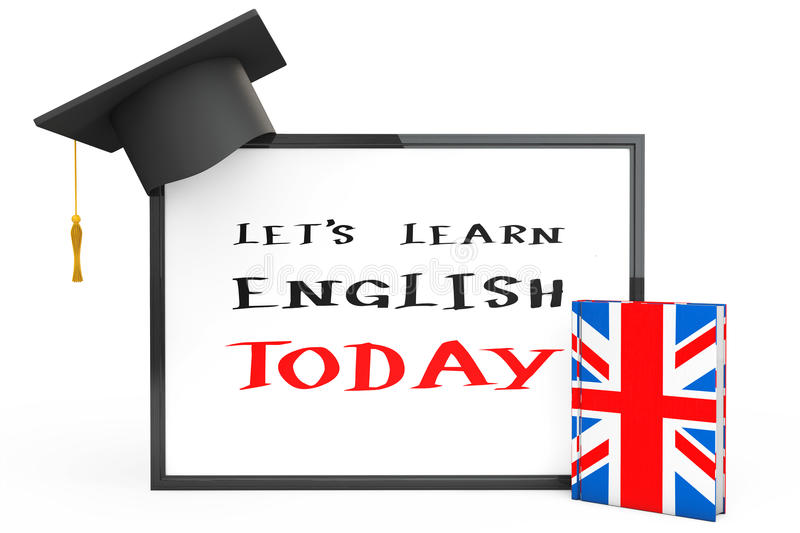 English Learning Concept. Graduation Cap, Chalkboard and English. Grammar Book on a white background royalty free stock photography