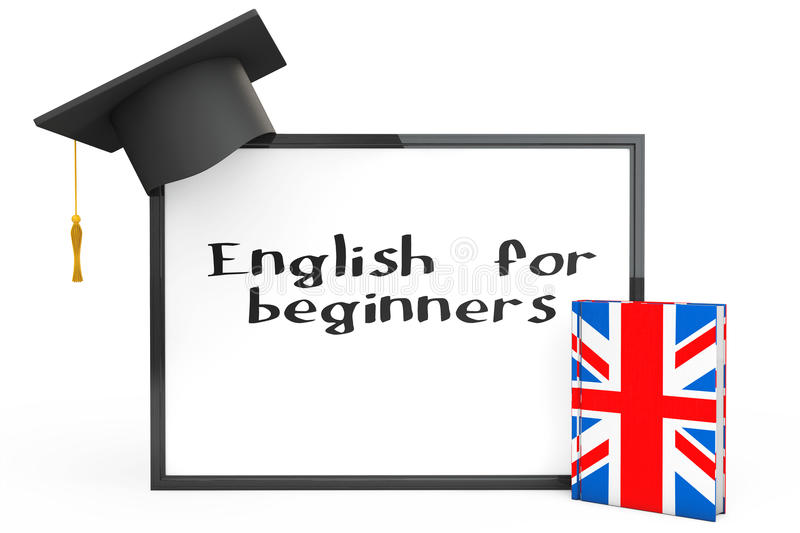 English Learning Concept. Graduation Cap, Chalkboard and English. Grammar Book on a white background royalty free stock image