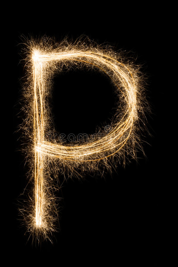 English Letter P from sparklers alphabet on black background. stock photos