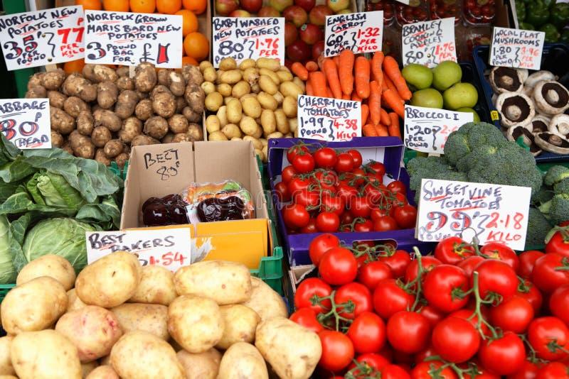 English Market Vegetable Stall Stock Photo
