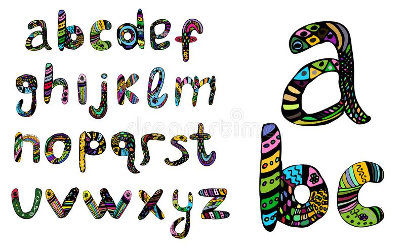 English multicolored alphabet, hand draw, doodle. Vector illustration on isolated background. stock illustration