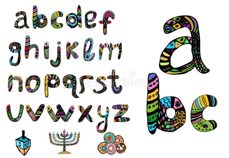 English multicolored alphabet, hanukiya, savivon, donuts. hand draw doodle. Set for the Jewish holiday of Hanukkah vector illustration