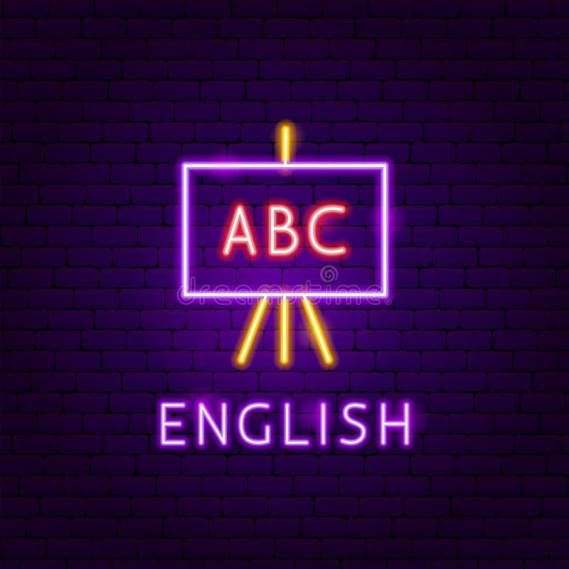 English Neon Label. Vector Illustration of Education Promotion royalty free illustration