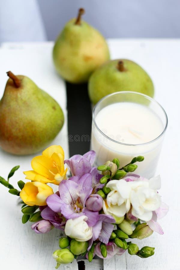 English pear and freesia stock photo