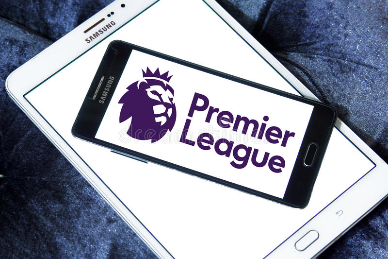 English premier league logo. Logo of english premier league on samsung mobile phone on samsung tablet royalty free stock photography