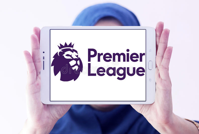 English premier league logo. Logo of english premier league on samsung tablet holded by arab muslim woman royalty free stock image