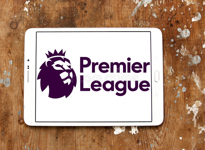 English premier league logo. Logo of english premier league on samsung tablet on wooden background stock photography