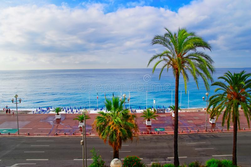 English promenade in Nice France. English promenade in Nice, France in summer. Bay and beach view stock photography