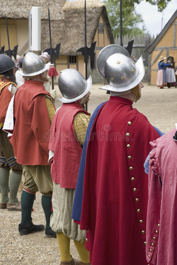 English reenactor soldiers. Standing guard at James Fort, Jamestown Settlement, on the 400th Anniversary of Jamestown, Virginia, May 4, 2007 stock photo