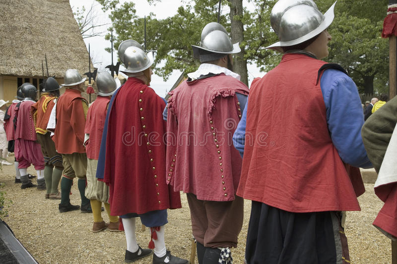 English reenactor soldiers. Standing guard at James Fort, Jamestown Settlement, on the 400th Anniversary of Jamestown, Virginia, May 4, 2007 stock photography