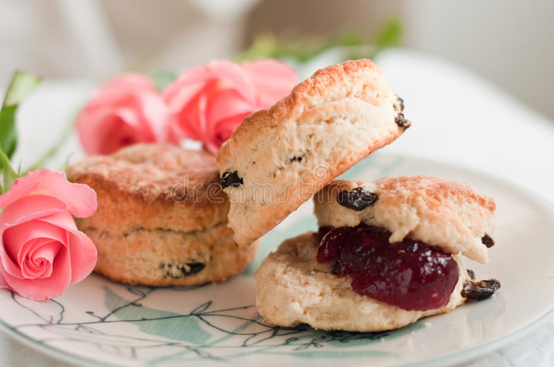 Download English scones with jam stock photo. Image of bakery - 13155068