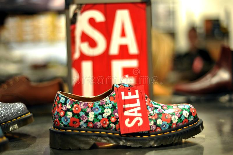 English shoes sale in London England stock photo