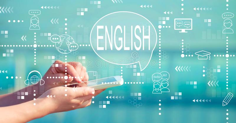 English with smartphone stock illustration
