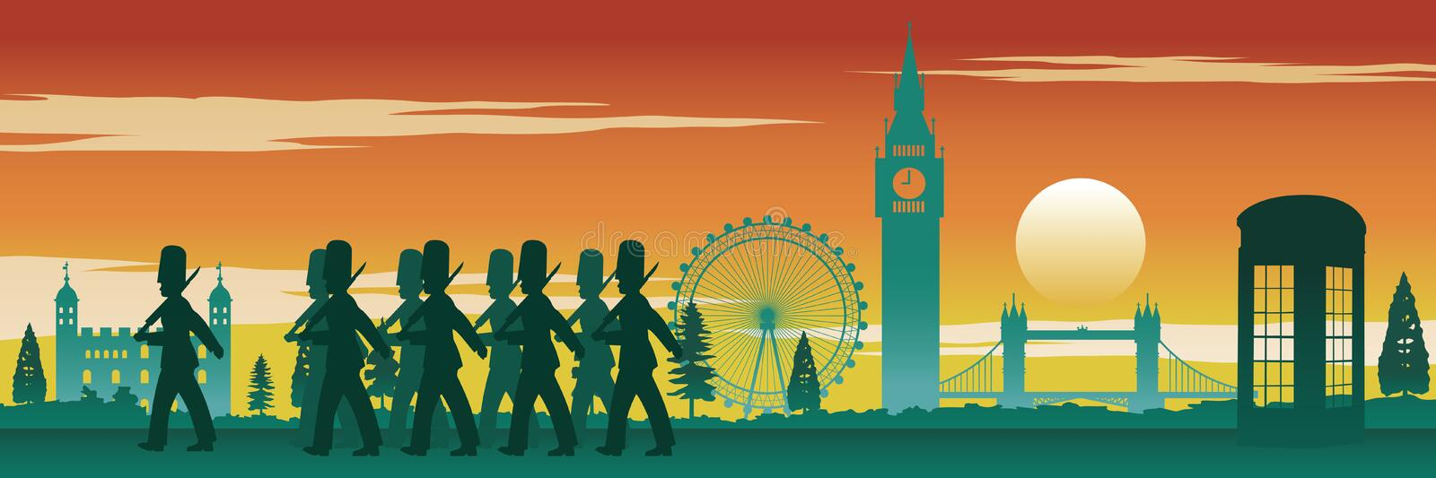 English soldier,red telephone box,Big Ben and famous land mark o. F England on sunset time,silhouette design,vector illustration vector illustration