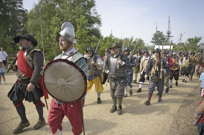 English soldiers. And colonists re-enacting their 1607 arrival to Jamestown, Virginia, on the 400th Anniversary of Jamestown, Virginia, May 4, 2007 stock image