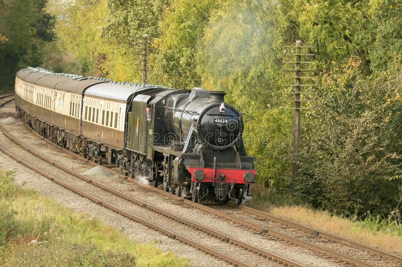 English steam train with carriages stock photos