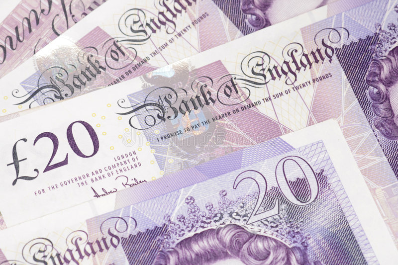 English sterling pound notes. stock photo