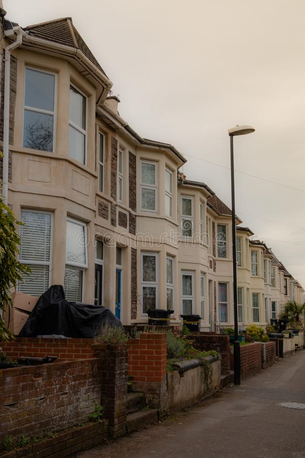 Line of houses in Bristol stock images