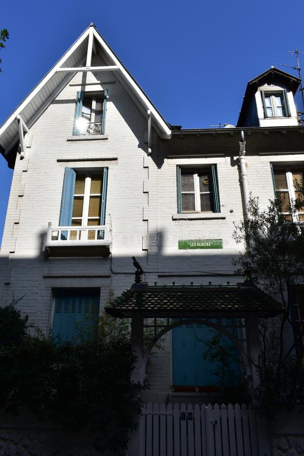 English style house at famous Villa Leandre located at Montmartre. Paris, France. royalty free stock photos